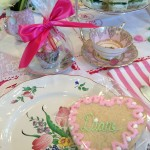 Personalized table setting including the charming engagement cup and saucer - think demitasse size.
