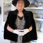 My outfit for the tea - yes the cape is real but from the 30s, not the 20s.  Hat is from Hats on Post.  Dress is ebay